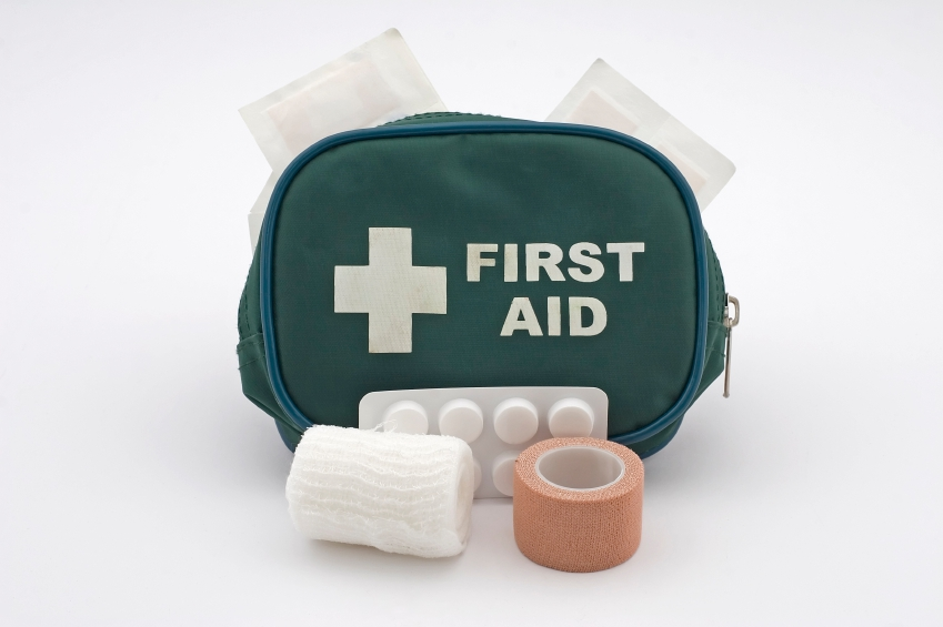 Image of a first aid kit, including bandages and tablet medicine. Independence leads to less accidents.